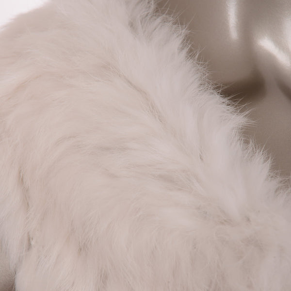 White With Beige Rabbit Fur Vest