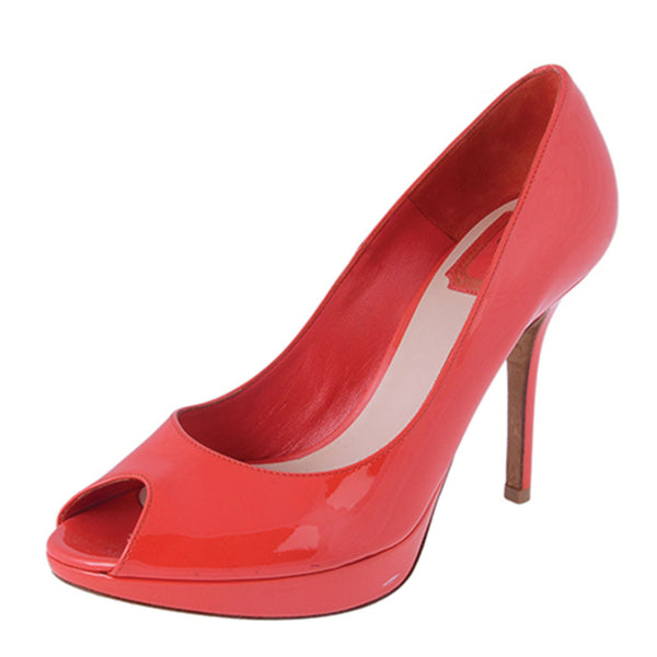Coral Patent Peep-Toe Pumps