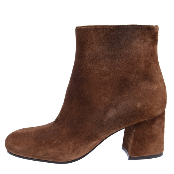 Camel Suede Ankle Boots With Block Heel