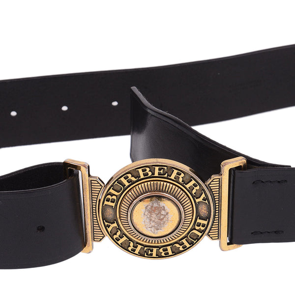Black Leather Round Logo Belt