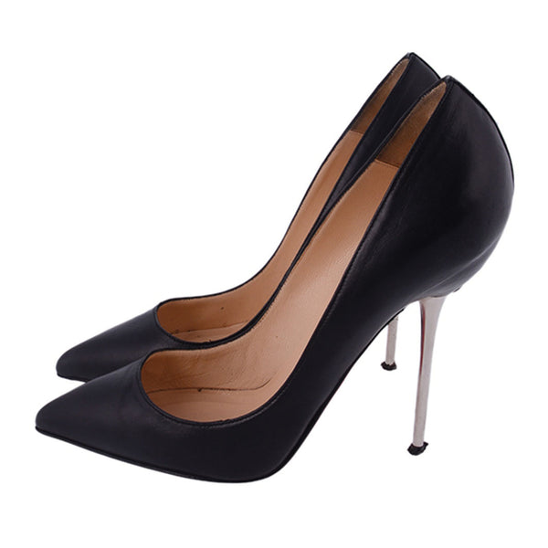 Black Leather Pointed Toe Stilettos