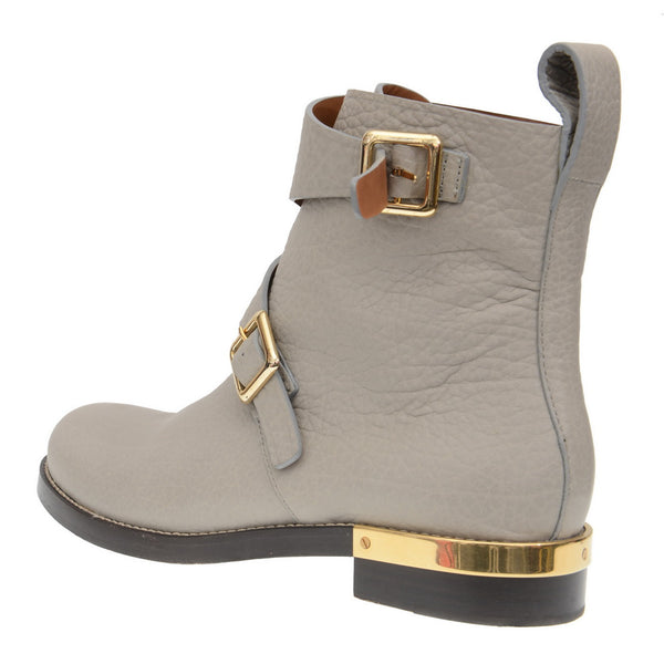 Grey Leather Double Buckled Ankle Boots
