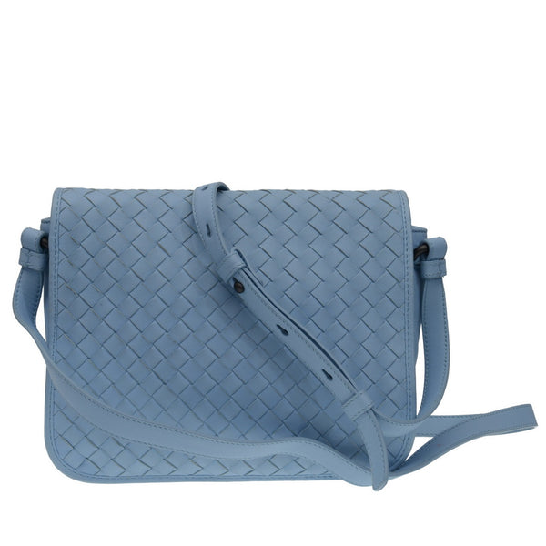 Baby Blue Leather Intrecciato Flap Cross Body Bag