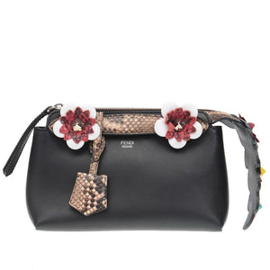 Floral Applique & Python Mini Black Leather By The Way Clutch