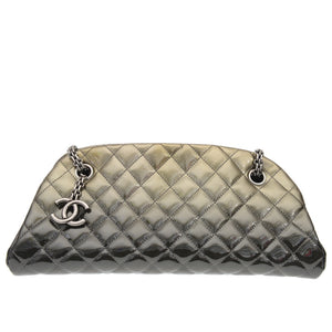 Mademoiselle Green Grey Quilted Patent Leather Bowling Bag