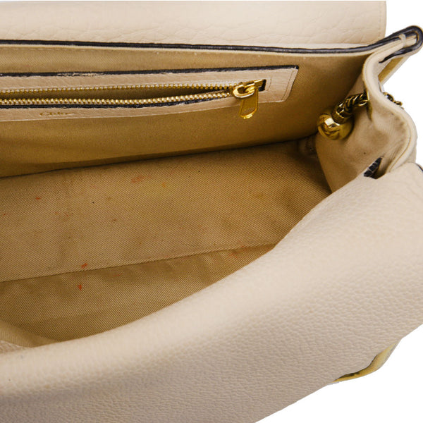 Sally Cream Grained Leather Shoulder Bag