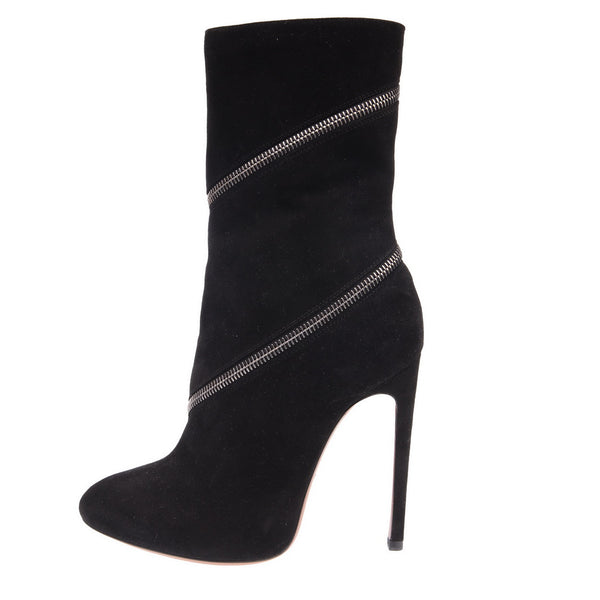 Black Zipper Trim Suede Booties