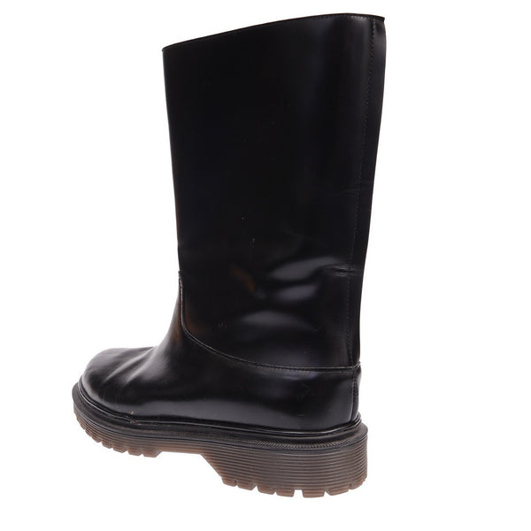 Black Leather Calf Skin Low Boots