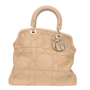 Beige Cannage Quilted Lambskin Leather Granville Tote