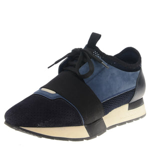 Navy Blue Leather & Suede Race Sneakers