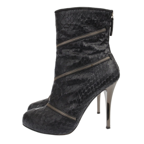 Croco Embossed Zipped Ankle Booties