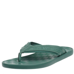 Green Damier Rubber Key Flip Flops Sandals