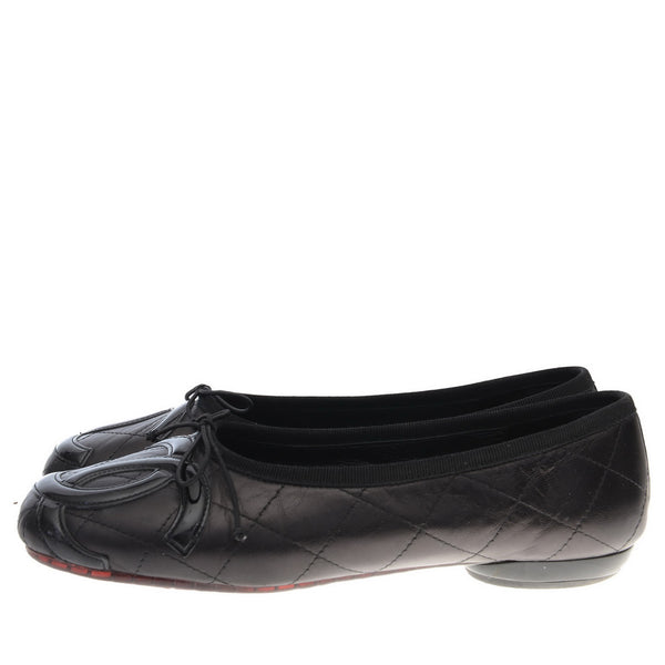 Black Quilted Leather Ballerinas