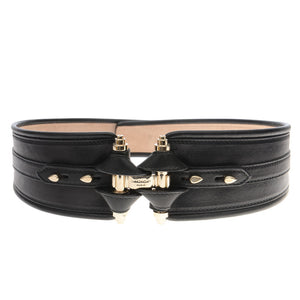 Black Leather Gold Tone Waist Belt
