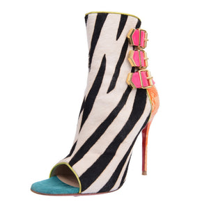 Tribocolor Mulitcolor Python Zebra Pony Open Toe Ankle Boots