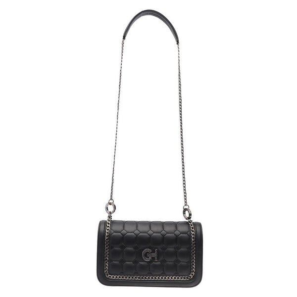 Black Chained Leather Crossbody Bag