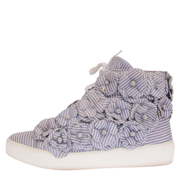 Blue & White Striped Camelia Flower High Top Sneakers