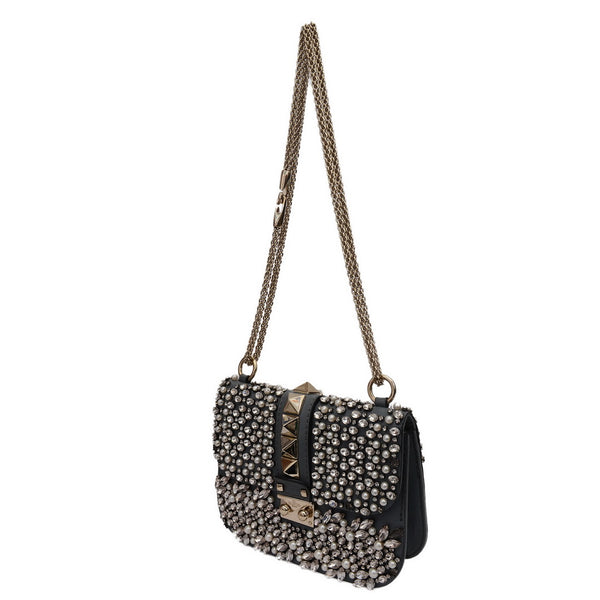 Pyramid Studs Grey Leather Crystal & Pearl Embellishment Shoulder Bag