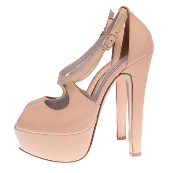 Leather Nude Platform Sandals