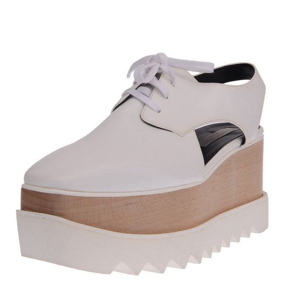 White Elyse Cut Out Platform Shoes
