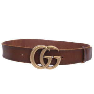 GG Logo Camel Leather Belt