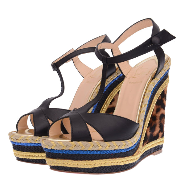 Strappy Trotolita Black Leather Sandals with Colorful Wedge Heels