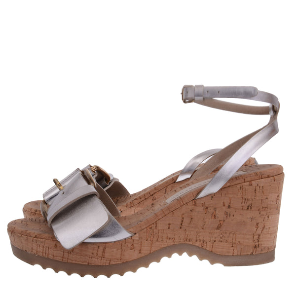 Silver Leather Wedges with Ankle Strap