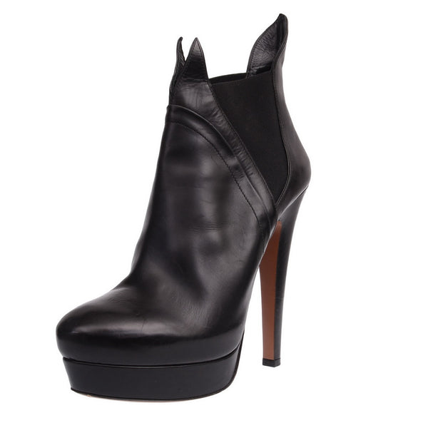 Black Leather Booties With Wing Opening