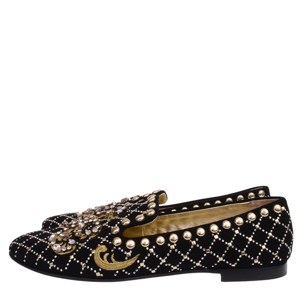 Crystal-Embellished Suede Venetian Loafers