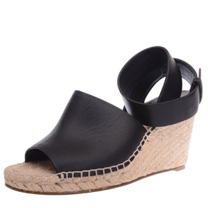 Black Leather Espadrilles with Ankle Strap