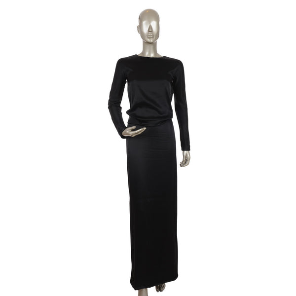 Black Silk Gown With V Back