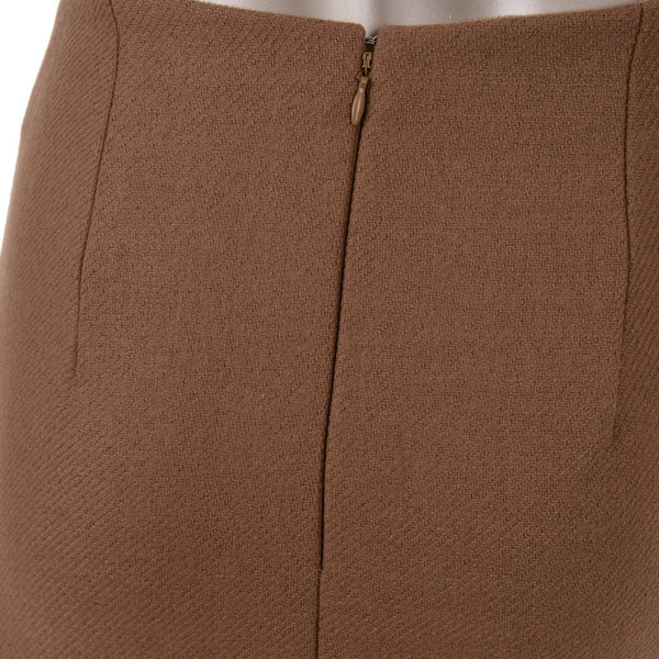 Beige Wool Slit Pencil Skirt
