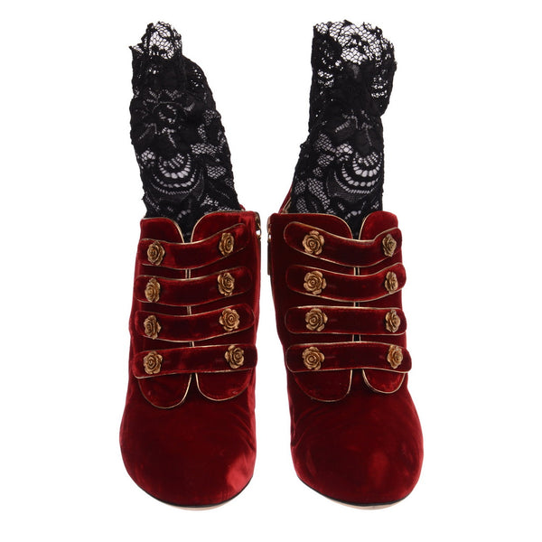 Vintage Red Velvet Lace Booties