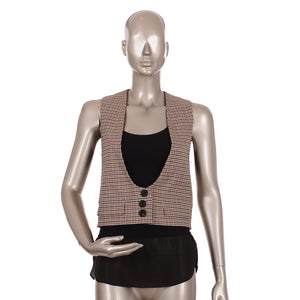 Houndstooth Wool and Cotton Twill Vest