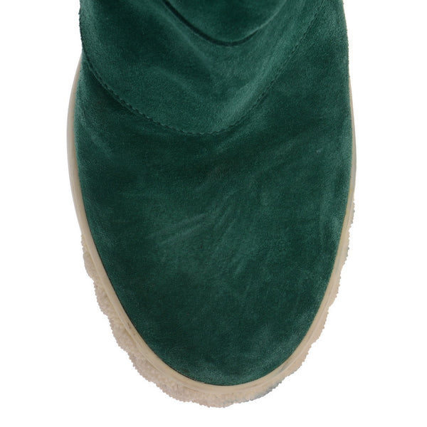 Green Suede Folded Boots