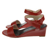 Red Ankle-Strap Low Wedges