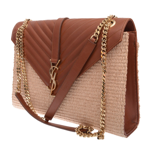 Burnt Brown Matelasse Raffia Large Envelope Shoulder Bag