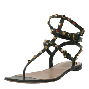 Green Rockstud Rolling Leather Flat Sandals