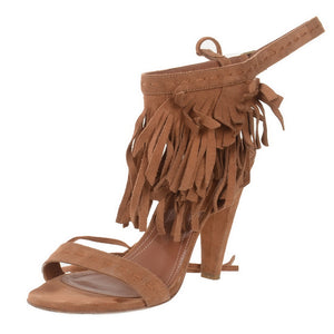 Brown Suede Fringed Sandals