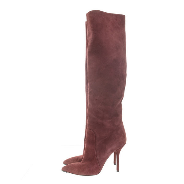 Burgundy Suede High Boots