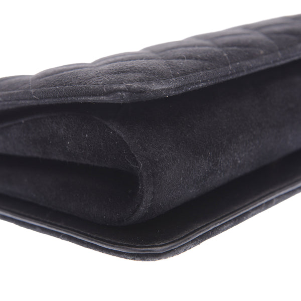 Black Suede Flapped CC Logo Clutch