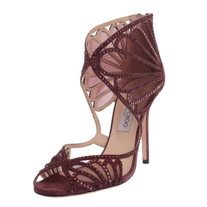 Kole Burgundy Crystal Embellished Suede Sandals