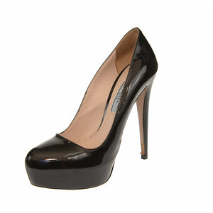Black Patent Leather Hidden Platform Pumps