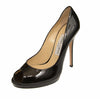 Black Luna Enamel Patent Leather Peep Toe Pumps