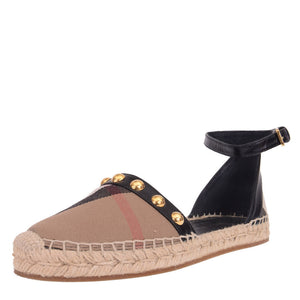 Abbingdon House Check Studded Leather Espadrilles Sandals