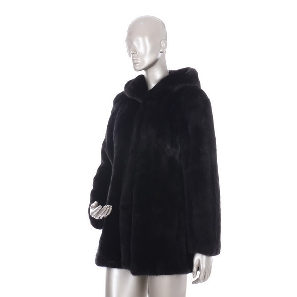 Brown Mink Hooded Fur Coat