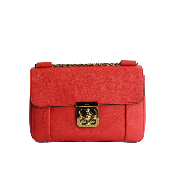 Red Leather Medium Elsie Chain Shoulder Bag