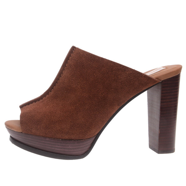 Brown Burnished Leather Mules