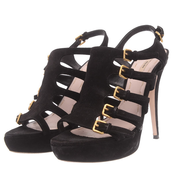 Black Suede Slingback Strappy Sandals