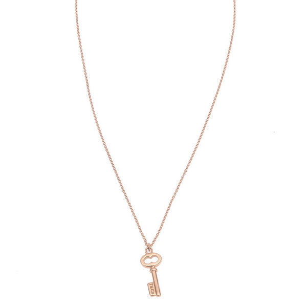 18 Karat Rose Gold Mini Key Pendant Necklace
